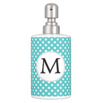 Personalized Monogram Aqua Polka Dots Pattern Soap Dispenser & Toothbrush Holder