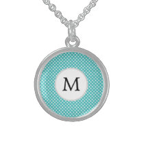 Personalized Monogram Aqua Polka Dots Pattern Sterling Silver Necklace