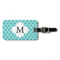 Personalized Monogram Aqua Quatrefoil Pattern Bag Tag