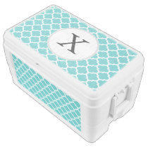 Personalized Monogram Aqua Quatrefoil Pattern Chest Cooler