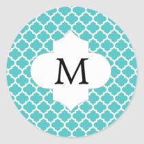 Personalized Monogram Aqua Quatrefoil Pattern Classic Round Sticker