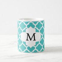 Personalized Monogram Aqua Quatrefoil Pattern Coffee Mug