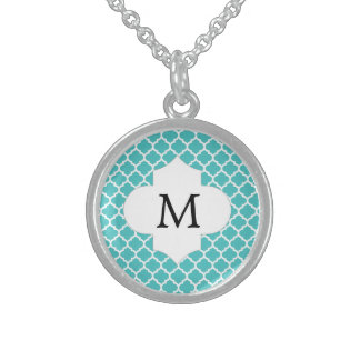 Personalized Monogram Aqua Quatrefoil Pattern Sterling Silver Necklace