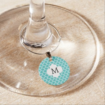 Personalized Monogram Aqua Quatrefoil Pattern Wine Charm