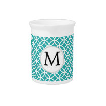 Personalized Monogram aqua rings pattern Beverage Pitcher