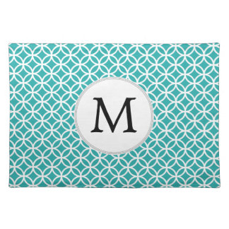 Personalized Monogram aqua rings pattern Cloth Placemat