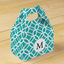 Personalized Monogram aqua rings pattern Favor Box