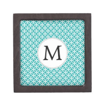 Personalized Monogram aqua rings pattern Gift Box