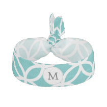 Personalized Monogram aqua rings pattern Hair Tie