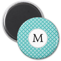 Personalized Monogram aqua rings pattern Magnet