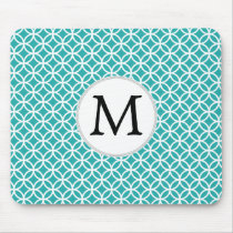 Personalized Monogram aqua rings pattern Mouse Pad