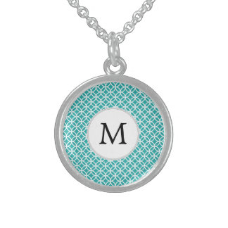 Personalized Monogram aqua rings pattern Sterling Silver Necklaces