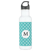 Personalized Monogram aqua rings pattern Stainless Steel Water Bottle