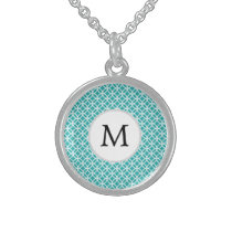 Personalized Monogram aqua rings pattern Sterling Silver Necklace