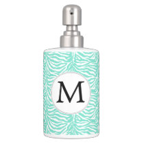 Personalized Monogram Aqua Zebra Stripes Bathroom Set