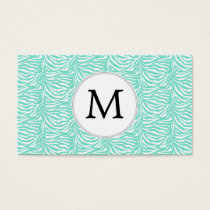Personalized Monogram Aqua Zebra Stripes Business Card