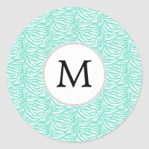 Personalized Monogram Aqua Zebra Stripes Classic Round Sticker