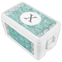 Personalized Monogram aqua Zebra Stripes Cooler