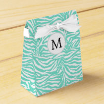Personalized Monogram Aqua Zebra Stripes Favor Box