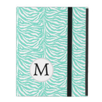 Personalized Monogram Aqua Zebra Stripes iPad Cover