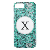 Personalized Monogram aqua Zebra Stripes iPhone 8/7 Case