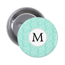 Personalized Monogram Aqua Zebra Stripes Pinback Button