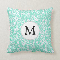 Personalized Monogram Aqua Zebra Stripes Throw Pillow