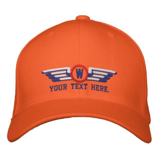 Personalized Monogram Aviation Laurels Pilot Wings Embroidered Baseball Cap