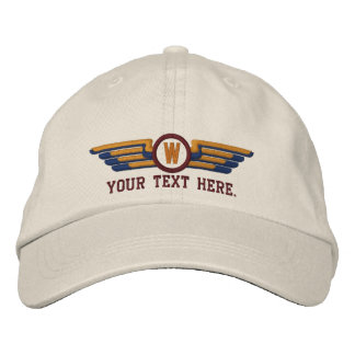 Personalized Monogram Aviation Laurels Pilot Wings Embroidered Baseball Hat