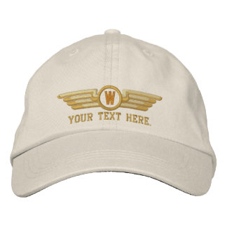 Personalized Monogram Aviation Laurels Pilot Wings Embroidered Baseball Hat