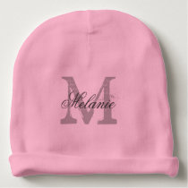 Personalized monogram baby beanie hat for infants