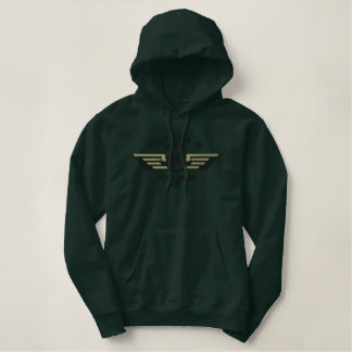 Personalized Monogram Badge Pilot Wings Embroidered Hoodie