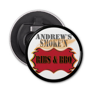 Personalized Monogram Barbecue or BBQ Button Bottle Opener