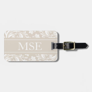 Personalized Monogram Beige White Damask Pattern Luggage Tag