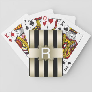 Personalized Monogram | Black and Gold Stripes Playing Cards