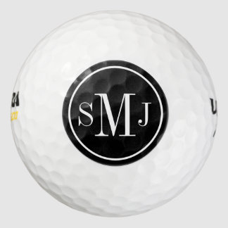 Personalized Monogram Black and White Frame Pack Of Golf Balls