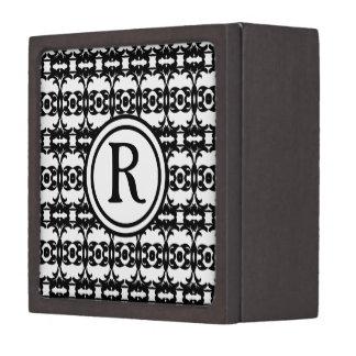 Personalized Monogram Black and White Pattern Jewelry Box