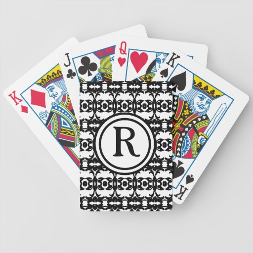 Personalized Monogram Black and white patterned Bicycle Playing Cards