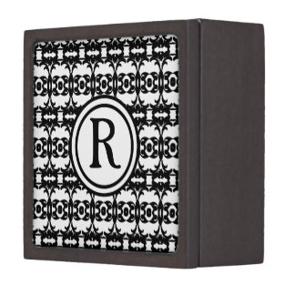 Personalized Monogram Black and white patterned Premium Gift Boxes