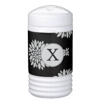 Personalized Monogram Black Floral Pattern Beverage Cooler