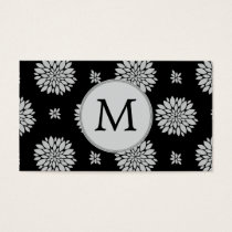 Personalized Monogram Black Floral Pattern Business Card