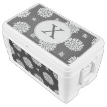 Personalized Monogram Black Floral Pattern Chest Cooler