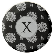 Personalized Monogram Black Floral Pattern Chocolate Covered Oreo