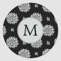 Personalized Monogram Black Floral Pattern Classic Round Sticker