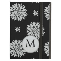 Personalized Monogram Black Floral Pattern Cover For iPad Air
