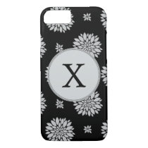 Personalized Monogram Black Floral Pattern iPhone 7 Case