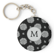 Personalized Monogram Black Floral Pattern Keychain