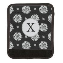 Personalized Monogram Black Floral Pattern Luggage Handle Wrap