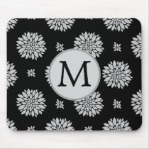 Personalized Monogram Black Floral Pattern Mouse Pad