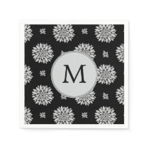 Personalized Monogram Black Floral Pattern Napkin